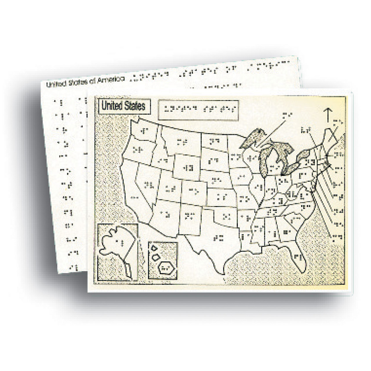 Braille Tactile Map of USA with State Capitals