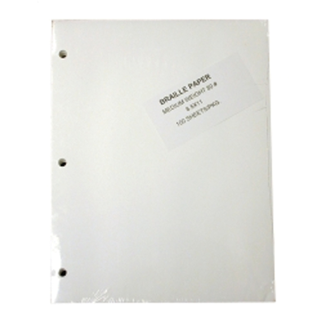"""Braille Paper, Heavy 8.5 x 11"""" 100 sheet pack  3 Hole Punch"""