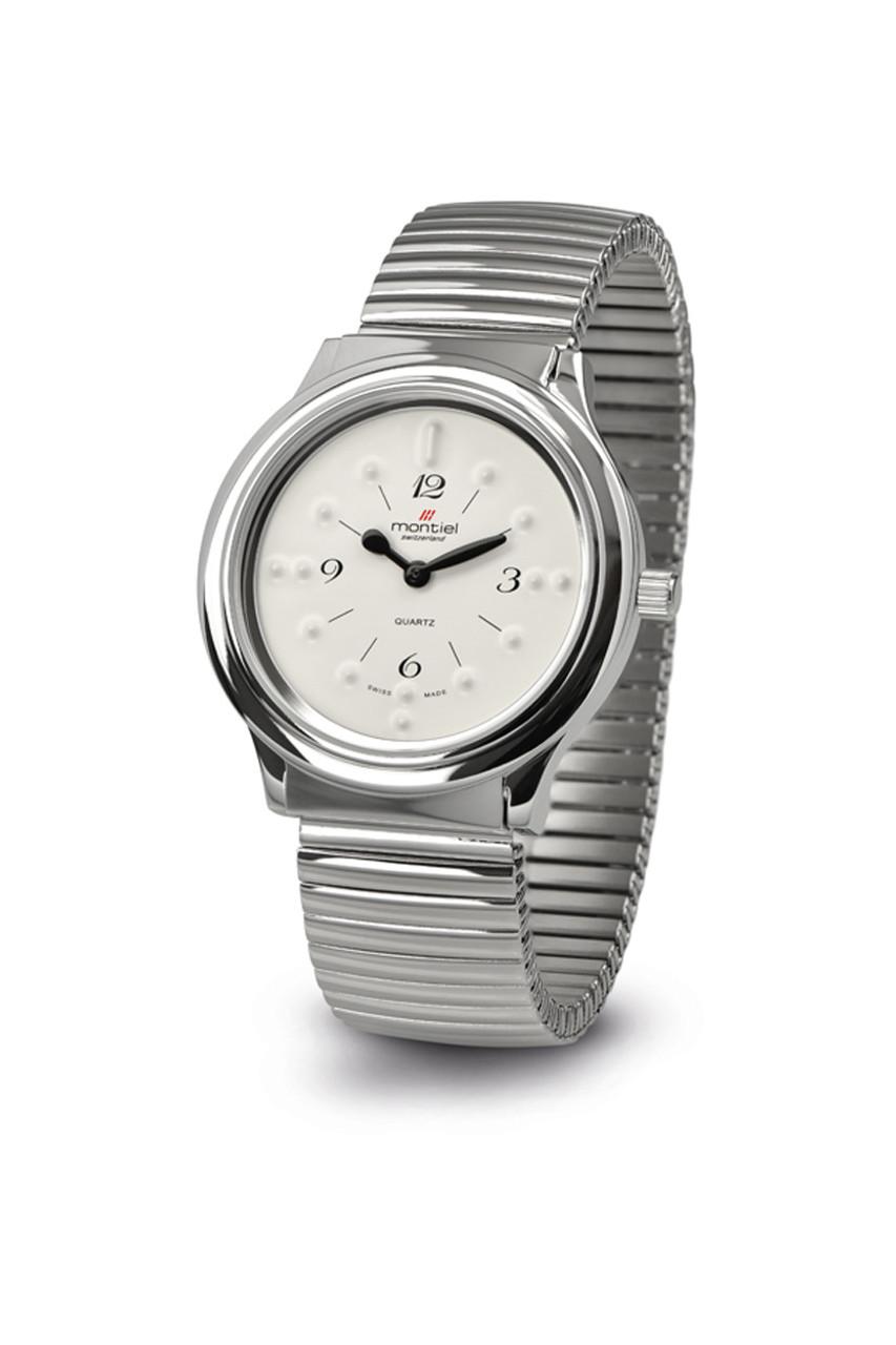 XL Montiel Braille Watch - Silver w/Expansion Band