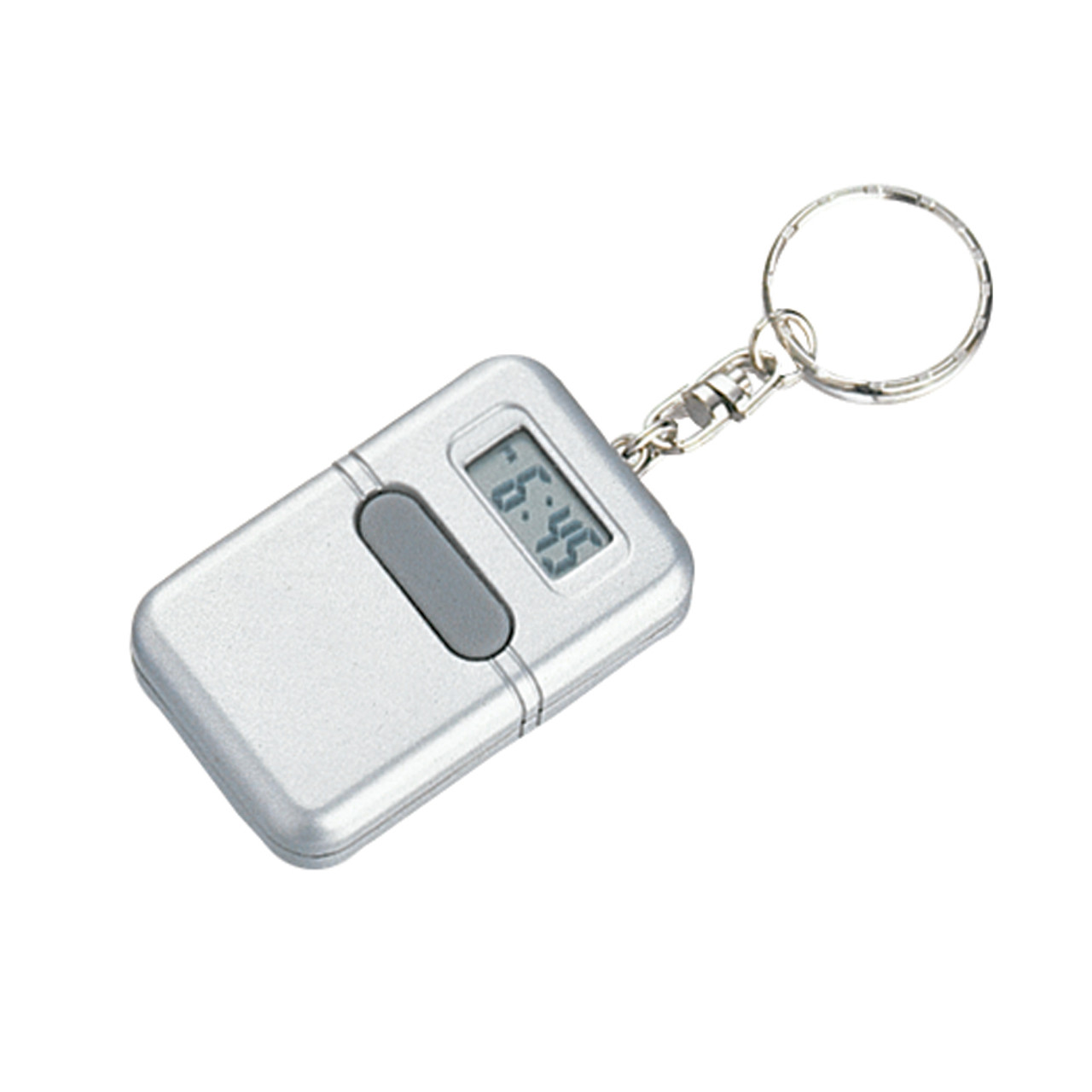 Talking Rectangular Clock Keychain - Silver