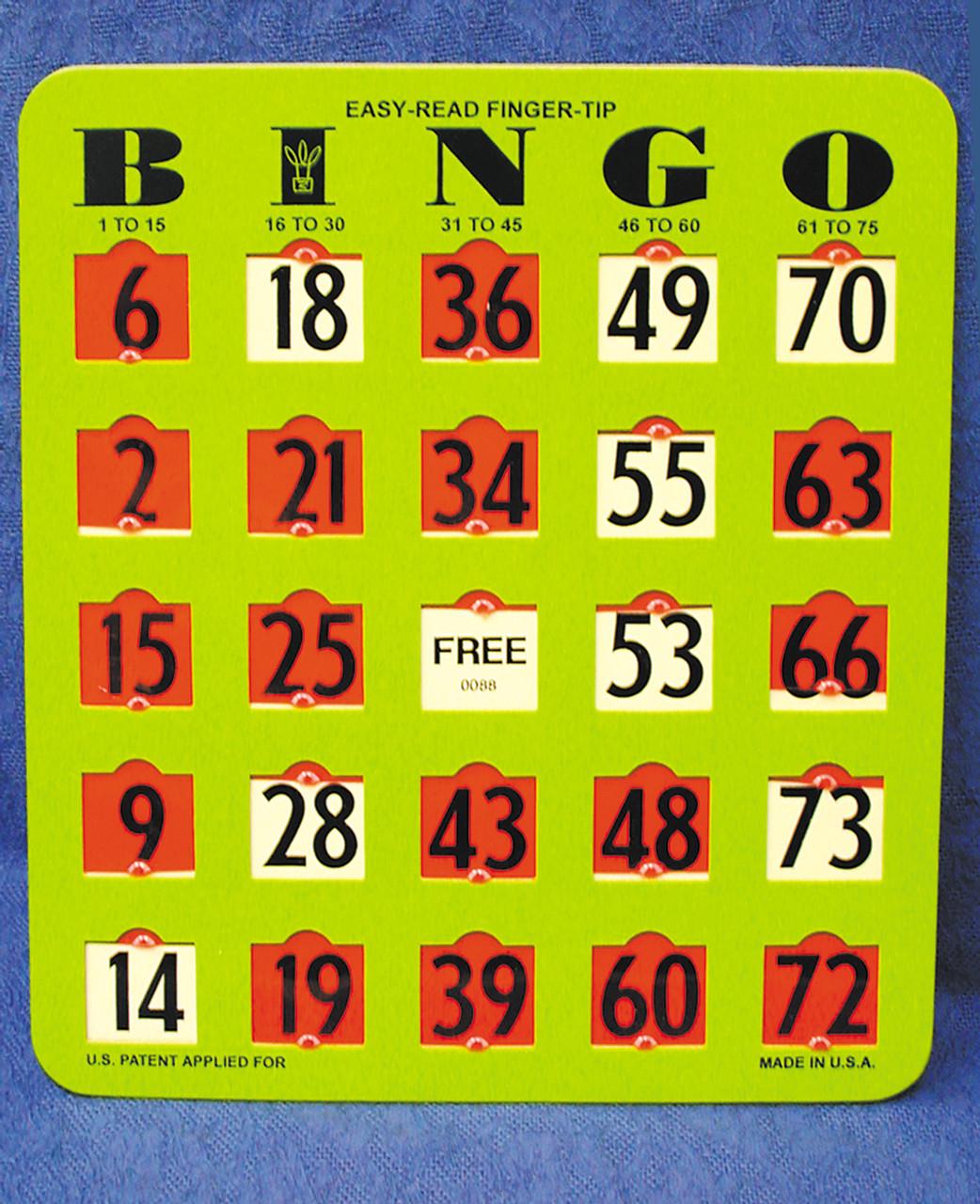 Easy-Read Finger - Tip Bingo Cards
