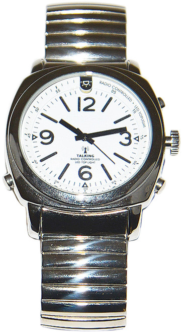 Silver Talking Atomic Watch With Top Light