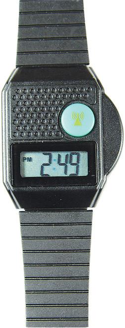 Digital Talking Atomic Watch, Black, Top Button Black Plastic Band