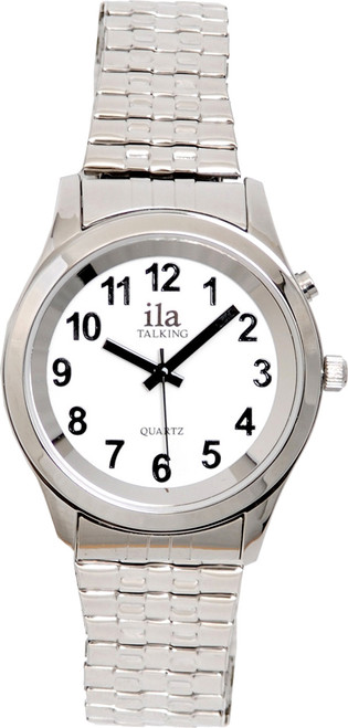 Men's Silver ila 1 Button Talking Watch with Choice of Voice
