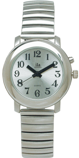 Men's Silver ila Talking Watch, Silver Face Choice of Voice
