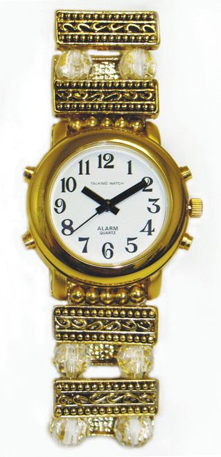 Ladies Talking Watch w/ Gold Tone Case Beaded Band, 1 Button