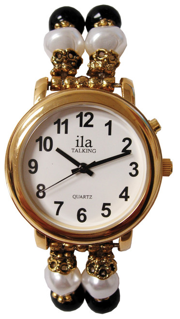 Ladies Gold ila Talking Watch / Small Beaded Band, 1 Button