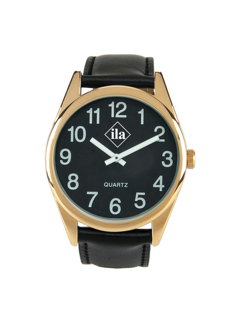 Low Vision Gold Tone Watch With Black Face and Leather Band