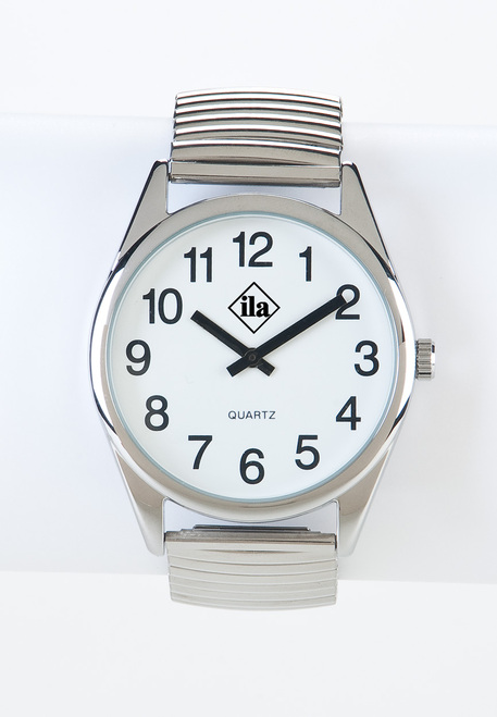 Low Vision Silver Tone Watch with White Face and Expansion Band