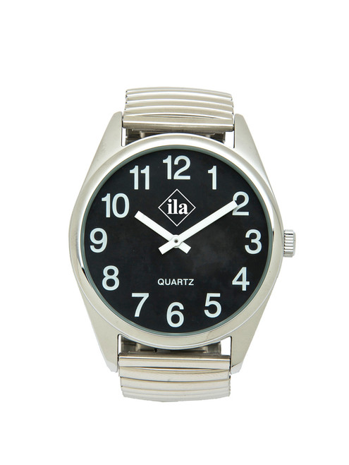 Low Vision Silver Tone Watch with Black Face and Expansion Band
