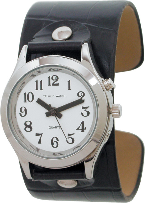 Talking Watch With Black Leather Slip-On Cuff