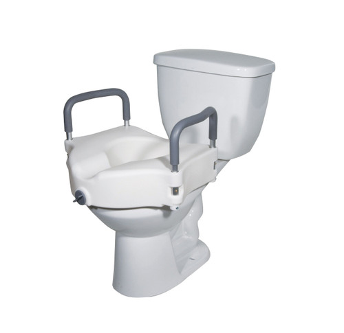 2 in 1 Locking Elevated Toilet Seat with Removable Arms