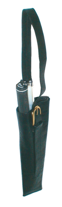 Black Leather Cane Holster with Adjustable Strap