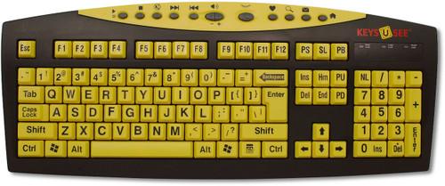 Keyboard with Keys-U-See Black on Yellow Keys
