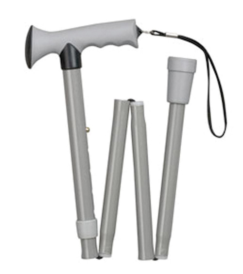 Adjustable Folding Cane w/Comfort Grip  Gray 7/8 tube