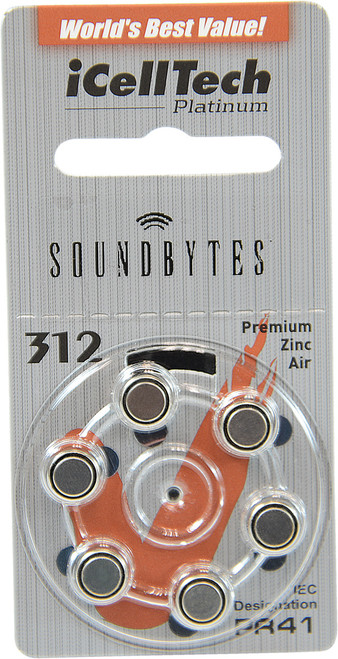iCellTech Hearing Aid Battery Size 312ds (6 pk)