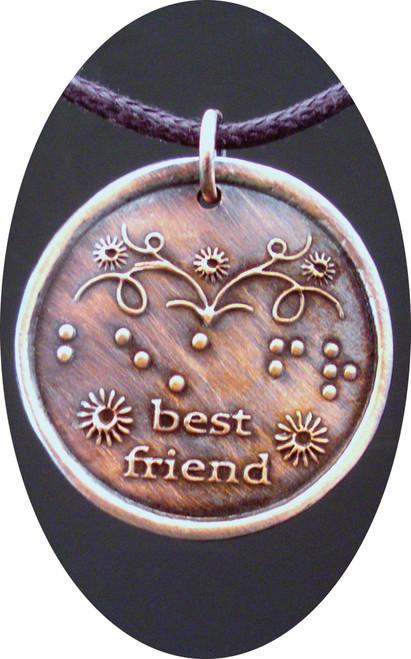 Best Friend in Braille Round Copper Pendant