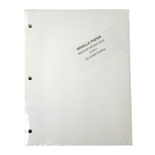 """Braille Paper, Medium 8.5 x 11"""" 100 sheet pack 3 Hole Punch 80#"""