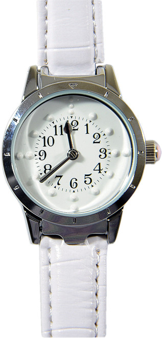 Ladies'  Braille Watch Silver Case with White Face