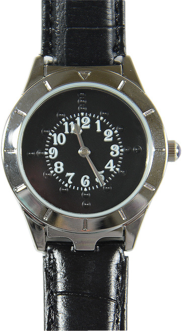 Men's Braille Watch Silver Case with Black Face