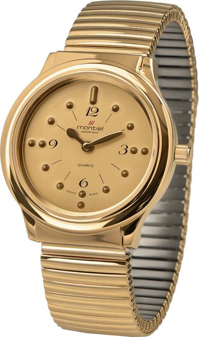 XL Montiel Braille Watch - Gold w/Expansion Band