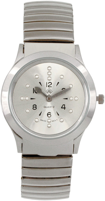 Everyday Silver Braille Watch With Expansion Band