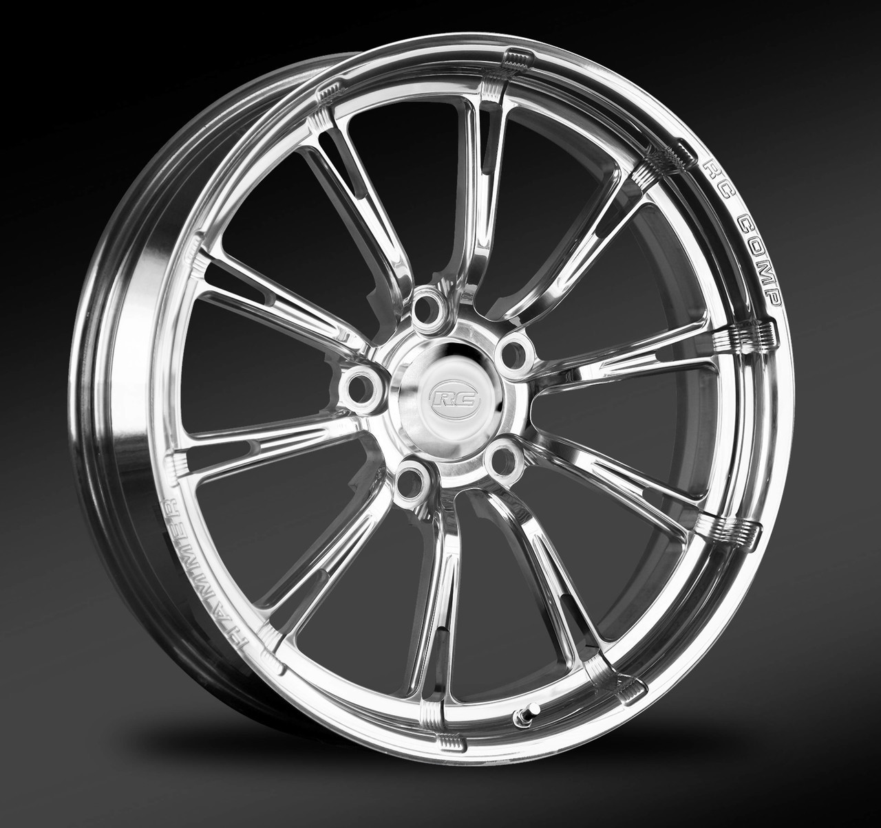 Hammer polished front drag race wheel.