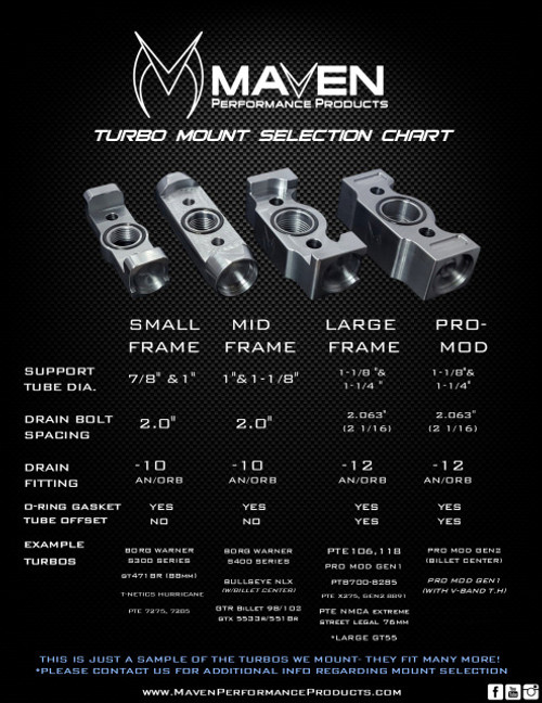 Maven Products Billet Oil Drain Small Frame Turbo Mount for Tubular Support