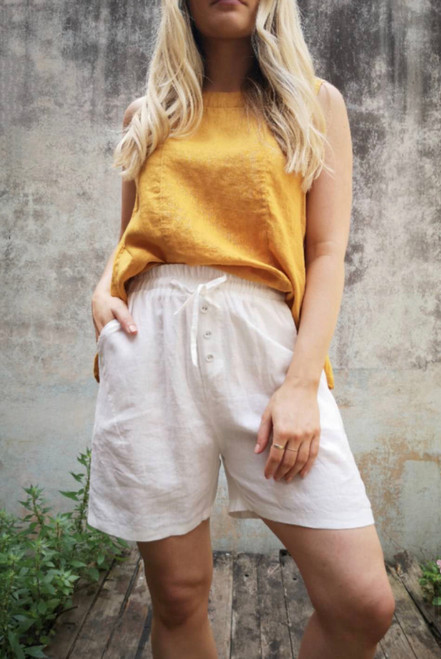 WO MUSTARD LINEN TOP SLEEVELESS