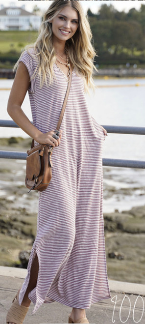 RE BLUE/WHITE STRIPE LONG DRESS