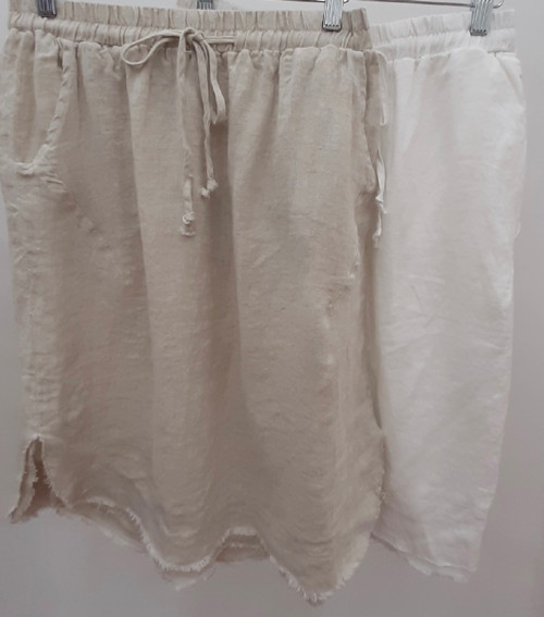 WO WHITE LINEN SKIRT