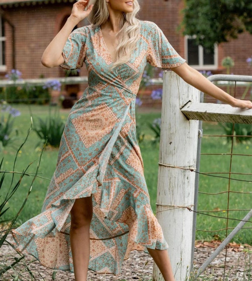 IM GREEN ORANGE WRAP DRESS DANIELA