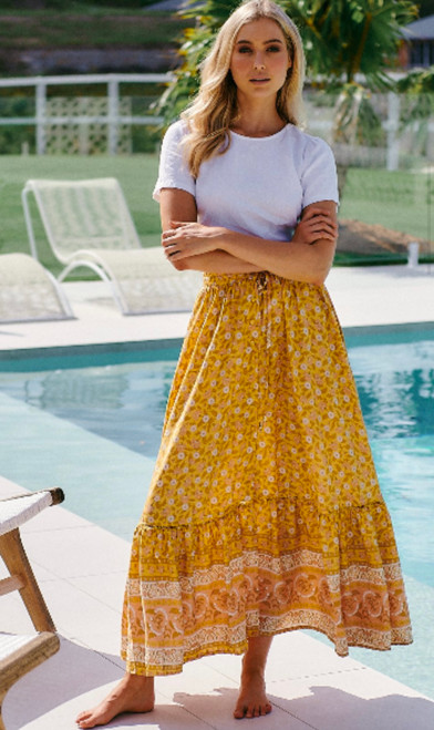 JAASE YELLOW FLORAL MAXI SKIRT