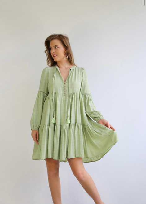SB GREEN LONG SLEEVE DRESS