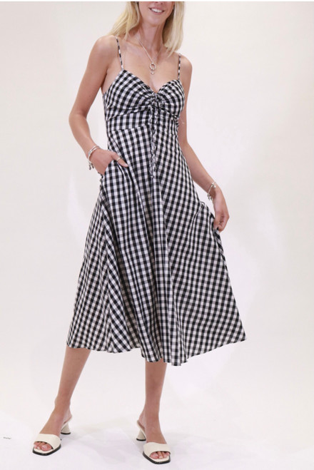SS BLACK AND WHITE CHECK DRESS COTTON