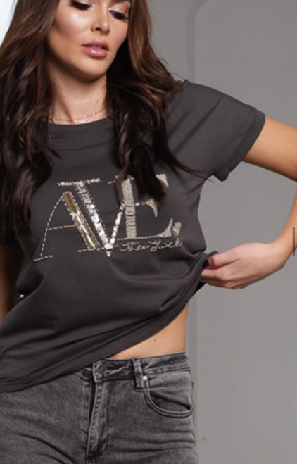 RE AVE CHARCOAL TEE