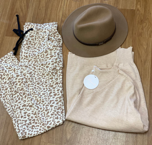 SG BEIGE AND BROWN LEOPARD PANTS