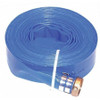 PD1 PVC blue discharge lay-flat hose with brass pin lug swivel  that resists kinking and twisting. Designed as a standard duty hose for water discharge in industrial and construction applications. It is economical and rolls up flat for easy storage.