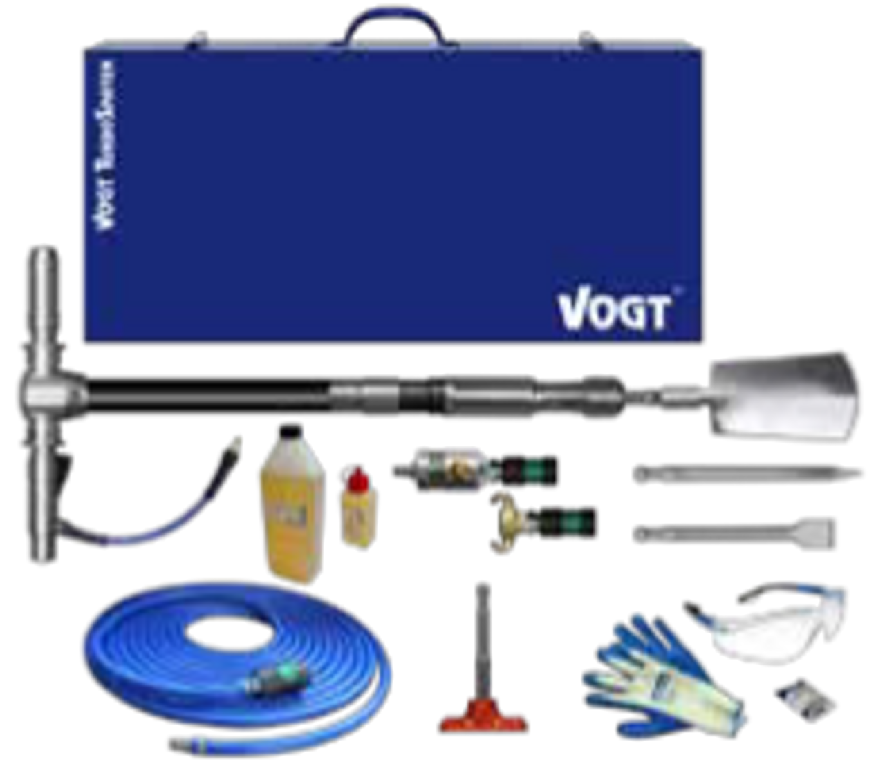 """Tool Kit includes: - 1 VOGT TurboSpade VTS 50-80 with 18 mm chisel input length without tool 80 cm (31,5"""")  Weight 6,0 kg (13,2 lb) Percussion rate 1960/min Air consumption 255 l/min (9.2 cfm) at 6.0 bar (87 psi) Operating pressure 3.0 - 6.0 bar (44 - 87 psi)   - 1 Digging spade w=140 mm (5.5"""") (GA140.18H) - 1 Moil point (M100.18) - 1 Wide chisel w=40 mm (1.6"""") (M340.18) - 1 Tamping plate 120/120 mm (4,72/4,72"""") (V1120.18H) - 1 Adapter 3/4"""" to standard connection (Z200) - 1 Precision in-line oiler (Z300) - 1 Air hose 9x14 mm, l=10 m (10.94 yd) (Z110) - 1 VOGT Special-Oil 0.1 l (Z510) - 1 VOGT Special-Oil 1.0 l (Z500) - 1 Working gloves (870005) - 1 Safety glasses (870007) - 1 Ear plugs (870003) - Metal transport case (0XX035-90) - 1 Operating manual"""