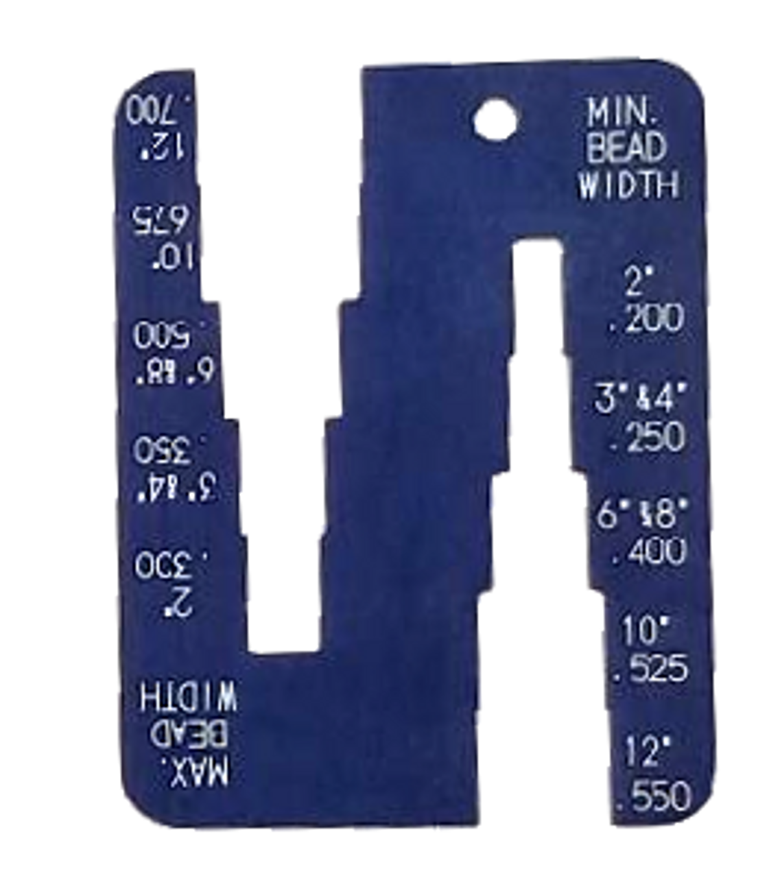 Poly Pipe bead min max thickness gauge.
