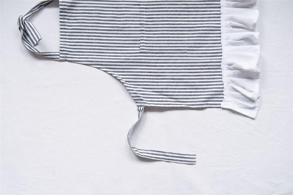 Cotton Woven Child Apron w/ Pocket & Ruffle, Black & Cream