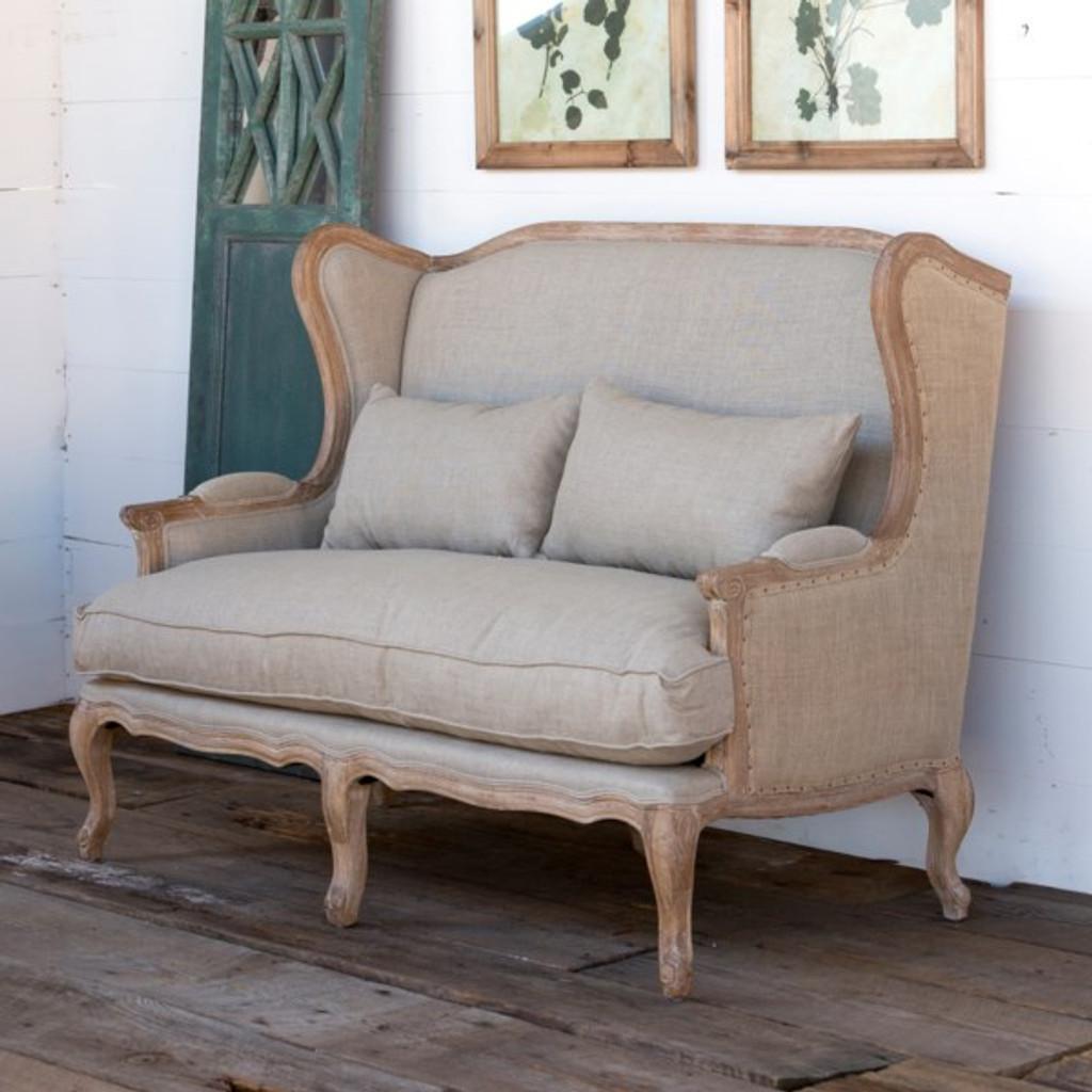 Burlap & Linen Wingback Settee (discontinued)