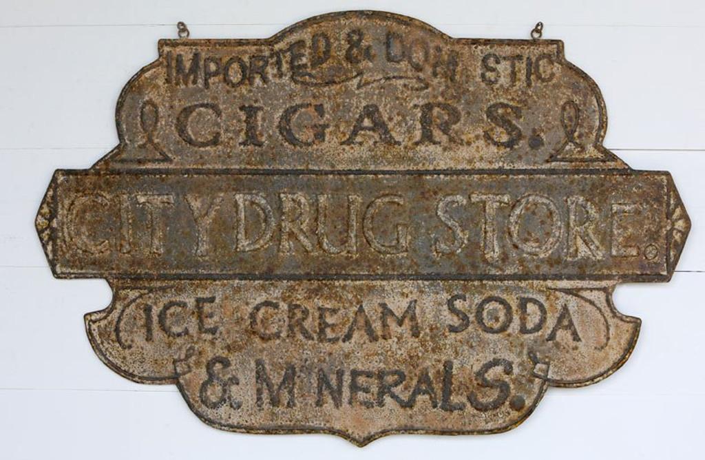 Embossed Metal Drug Store Sign