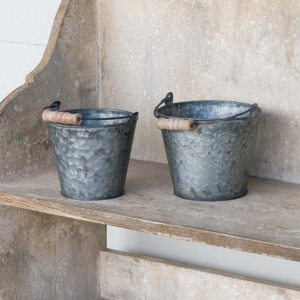 Aged Bucket Planters Set of 2