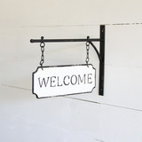 """Black & White Enamel """"Welcome"""" Sign with Wall Bracket"""