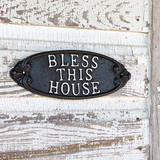 Cast Iron Bless This House Plaque, Set of 2
