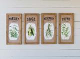 Botanical Herb Burlap Prints, Set of 4