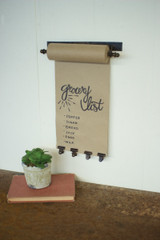 """HANGING NOTE ROLL WITH 4 ANTIQUE BRASS FINISH CLIPS - 11"""""""