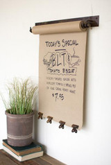 """HANGING NOTE ROLL WITH 4 ANTIQUE BRASS FINISH CLIPS - 22"""""""