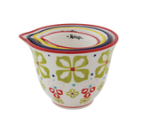 Hand-Painted Stoneware Measuring Cups w/ Floral Pattern, Set of 4